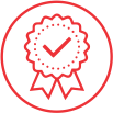 A red line drawing of a certificate icon