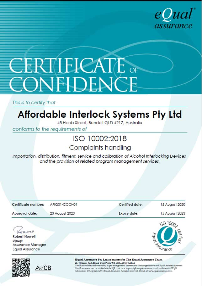 Affordable interlock systems Q-Mark ISO 10002+2018 certificate