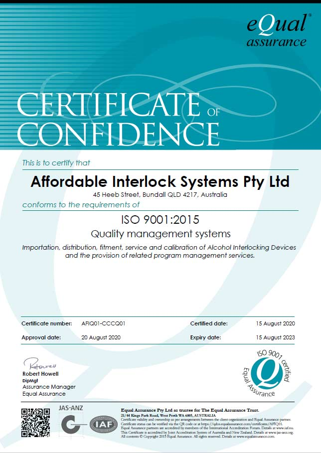 Affordable interlock systems Q-Mark ISO 9001certificate